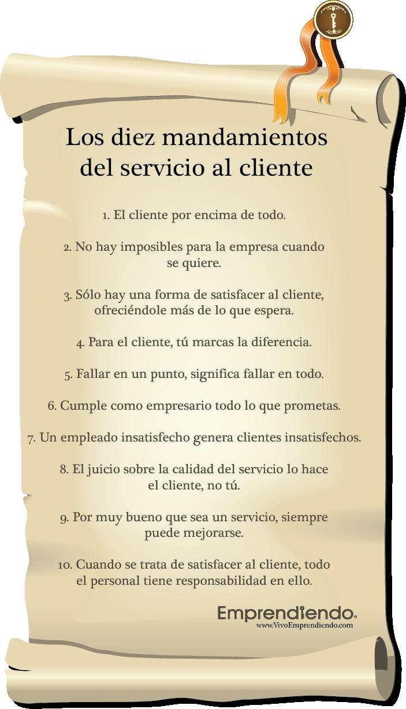 Los diez mandamientos del servicio al cliente